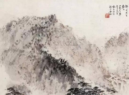 傅抱石1960年作唐人诗意设色纸本