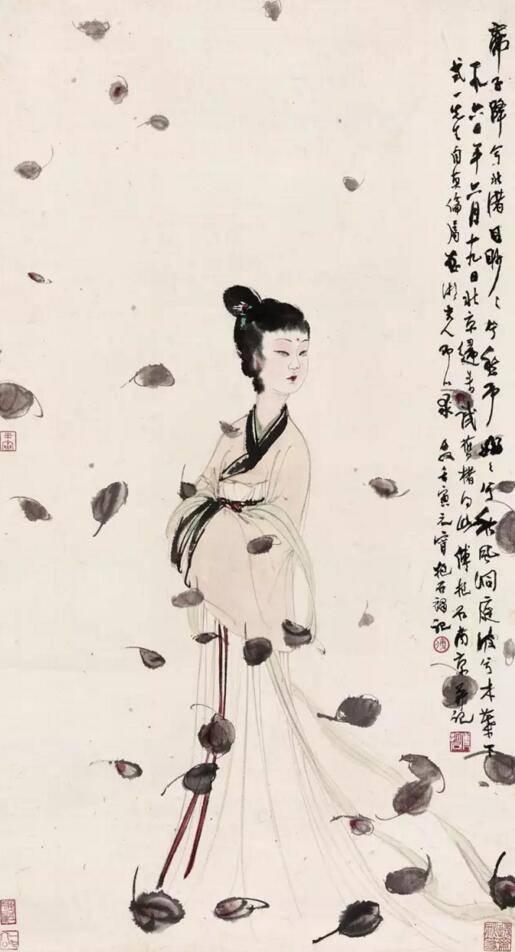 傅抱石1960年作湘夫人设色纸本