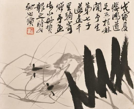 墨虾 齐白石 24×29.5cm 纸本墨笔 1938年 徐悲鸿纪念馆藏