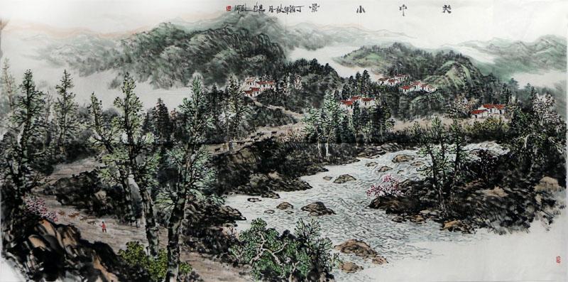 奔腾不息的黄河之水,八百里秦川的窑洞与信天游,构成了谢辉先生山水画