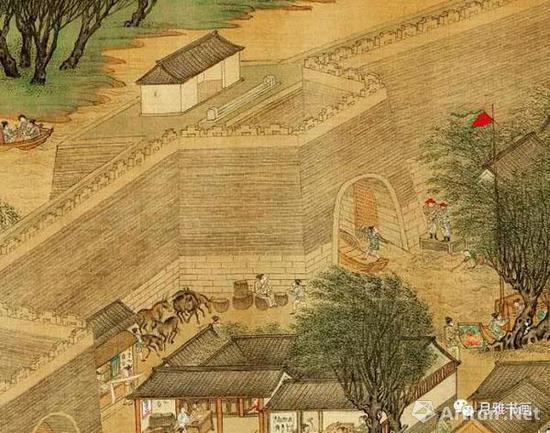明本《清明上河图》:水门的防守倭寇的状况,城门上方的缺口是千斤闸(图12)