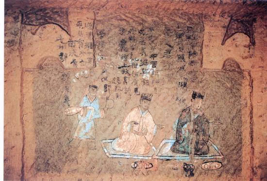 德阳市.照片.东汉崖墓彩色榜题浮雕壁画