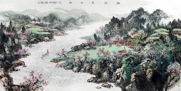 谢辉山水画《桃花坞的春天》