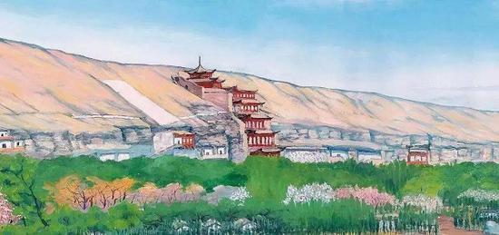 常书鸿与夫人李承仙画作《敦煌春天》局部