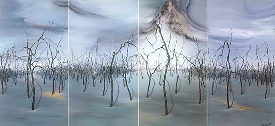 范勃,寒林,83×196cm,布面油彩,2012