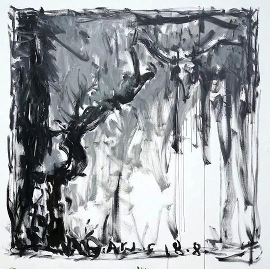 颜鸿,风景3,布面丙烯,220×220cm 2018