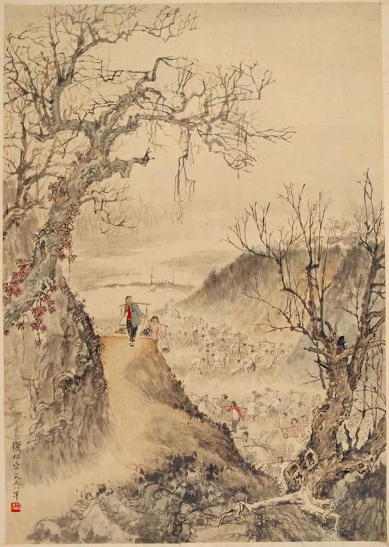 钱松喦 《开凿映山湖》74×51.5cm 1958年