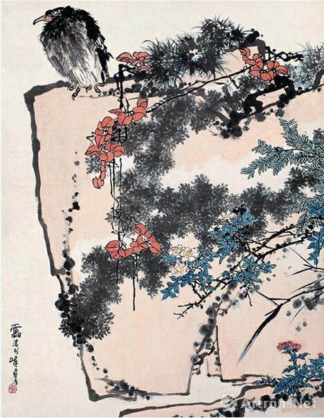▲潘天寿 《鹰石山花图》