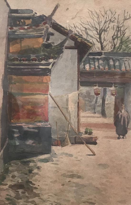 """蔡谦吉,《白云观》,水彩,1920年代(上海美专曾坐落于""""白云观左"""")"""