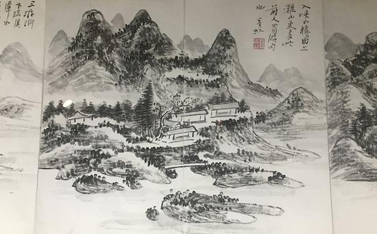 《黄宾虹山水花鸟八开册页》(局部),1933年,中国美术学院美术馆藏
