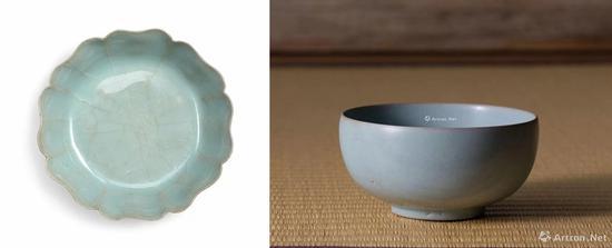 左:南宋官窑青釉葵瓣洗成交价:8135.1万港币