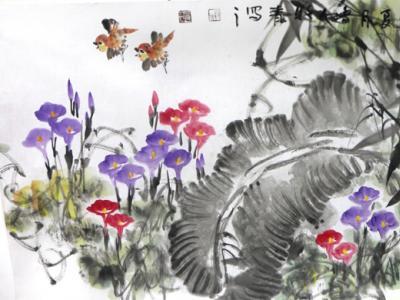 """清新恬淡 意趣丰富——牧青花鸟作品在""""翰墨丹青耀金秋•全国名家书画展""""展出"""